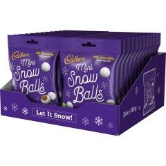 Cadbury Mini Snow Balls Bag 80g (Box of 24)
