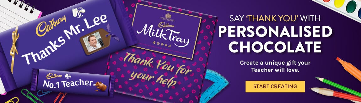 Personalised Cadbury Chocolate for Teacher Thank you's