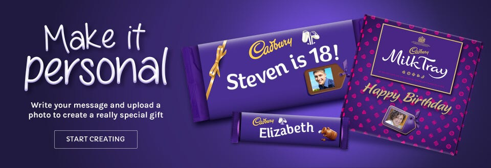 Cadbury personalised chocolate, create something unique