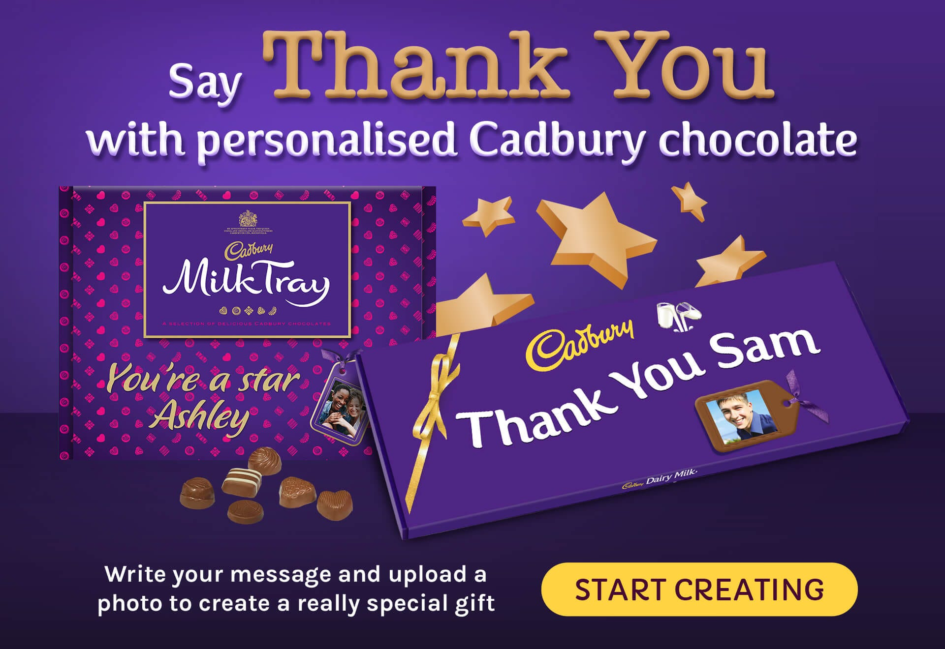 Say thank you to someone special with our fantastic range of personalised chocolate at Cadbury Gifts Direct