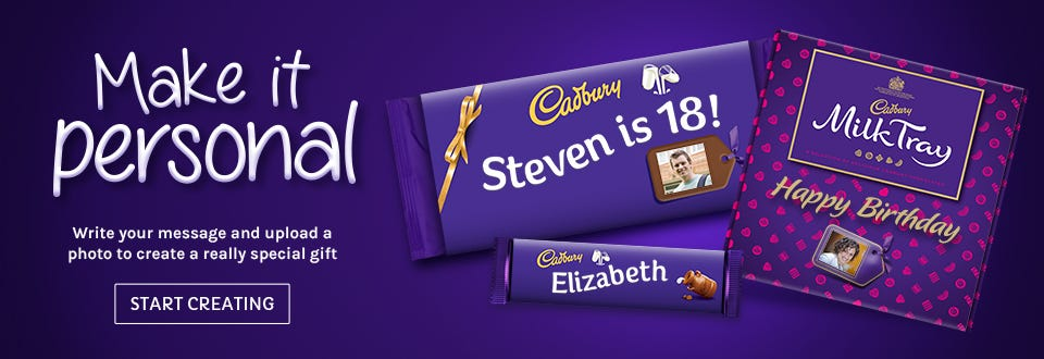 Make it personal with Cadbury Personalised Chocolates